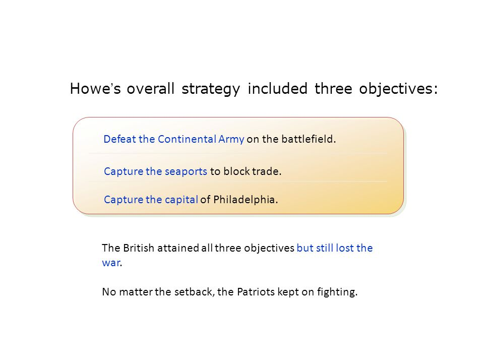 Howe's overall strategy included three objectives: