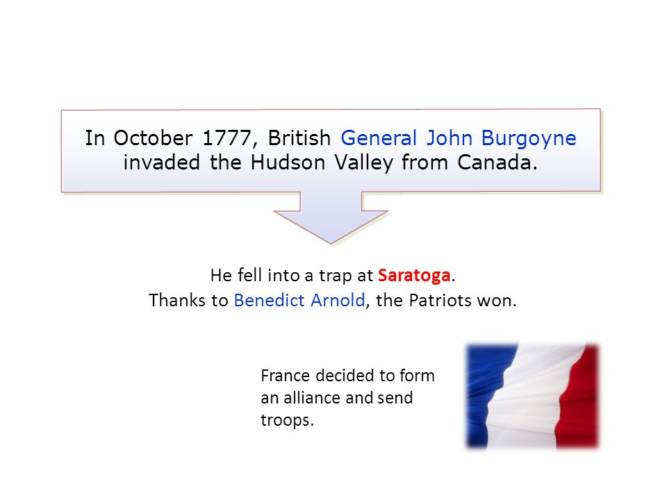 In October 1777, British General John Burgoyne invaded the Hudson Valley from Canada.