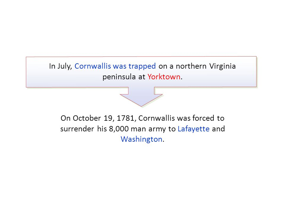In July, Cornwallis was trapped on a northern Virginia peninsula at Yorktown.