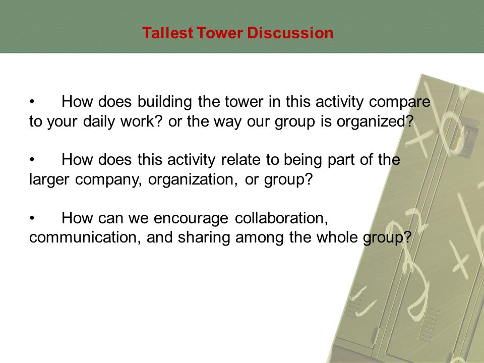 Tallest Tower Discussion