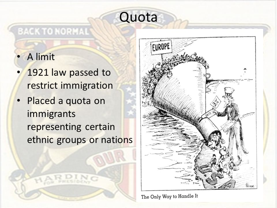 Quota A limit 1921 law passed to restrict immigration