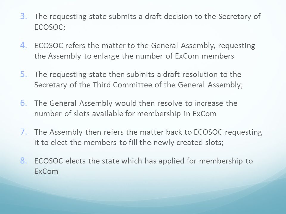 The requesting state submits a draft decision to the Secretary of ECOSOC;