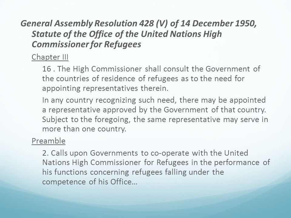 General Assembly Resolution 428 (V) of 14 December 1950, Statute of the Office of the United Nations High Commissioner for Refugees