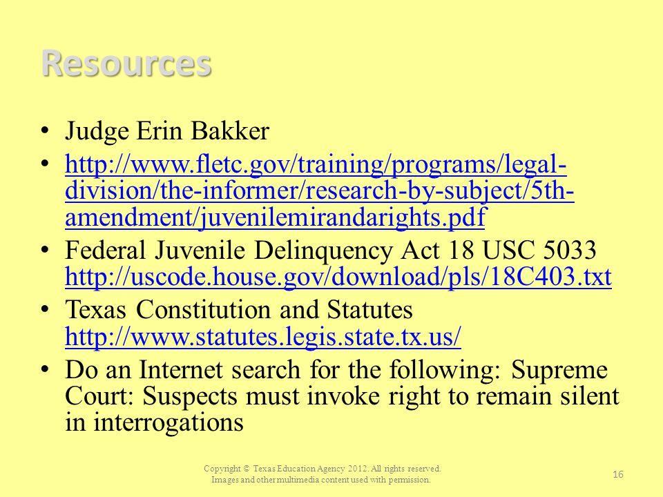 Resources Judge Erin Bakker