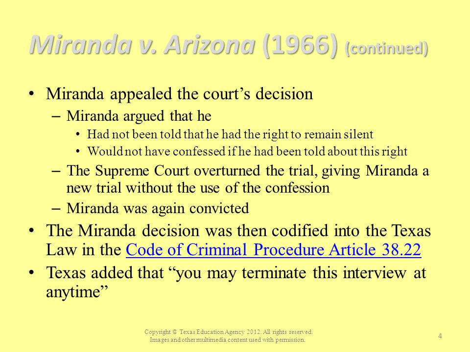 Miranda v. Arizona (1966) (continued)