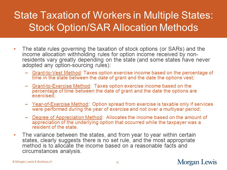 State Taxation of Workers in Multiple States: Stock Option/SAR Allocation Methods