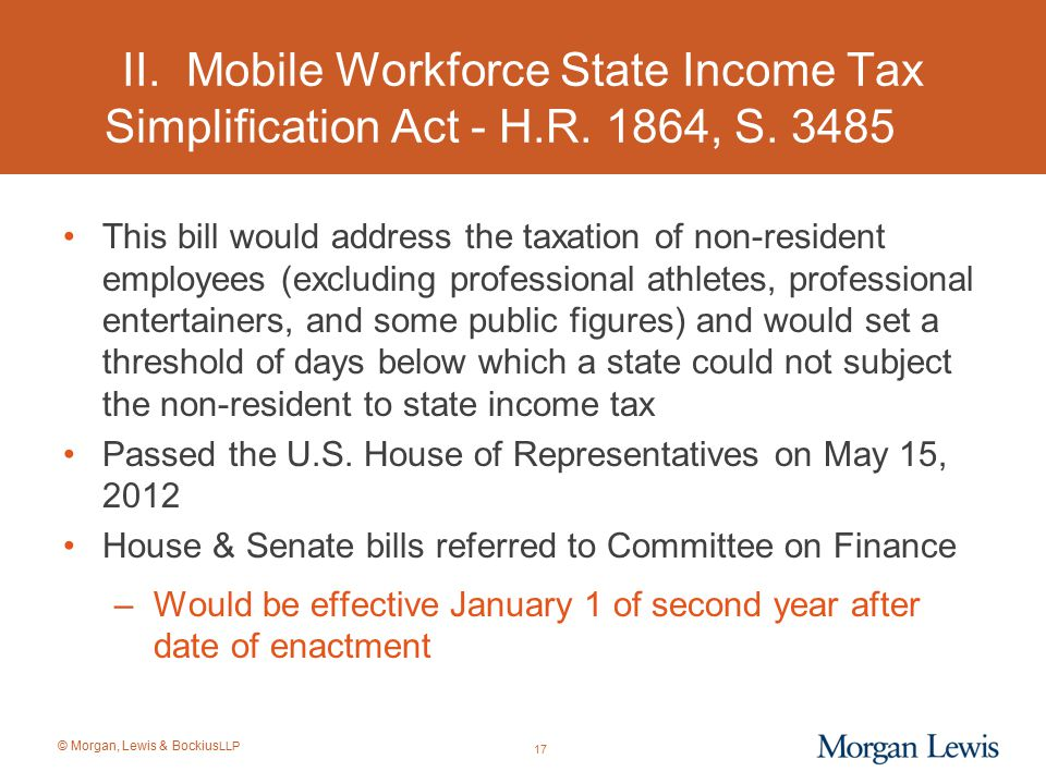 II. Mobile Workforce State Income Tax Simplification Act - H. R