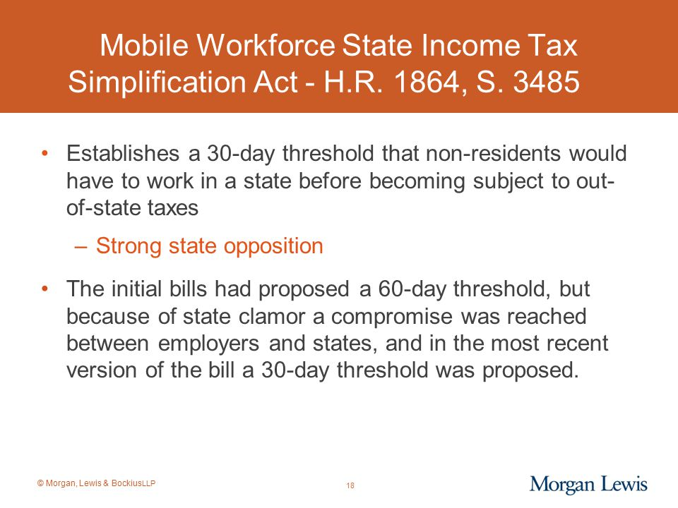 Mobile Workforce State Income Tax Simplification Act - H. R. 1864, S