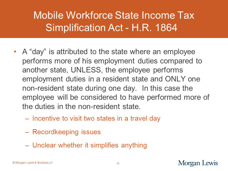 Mobile Workforce State Income Tax Simplification Act - H.R. 1864