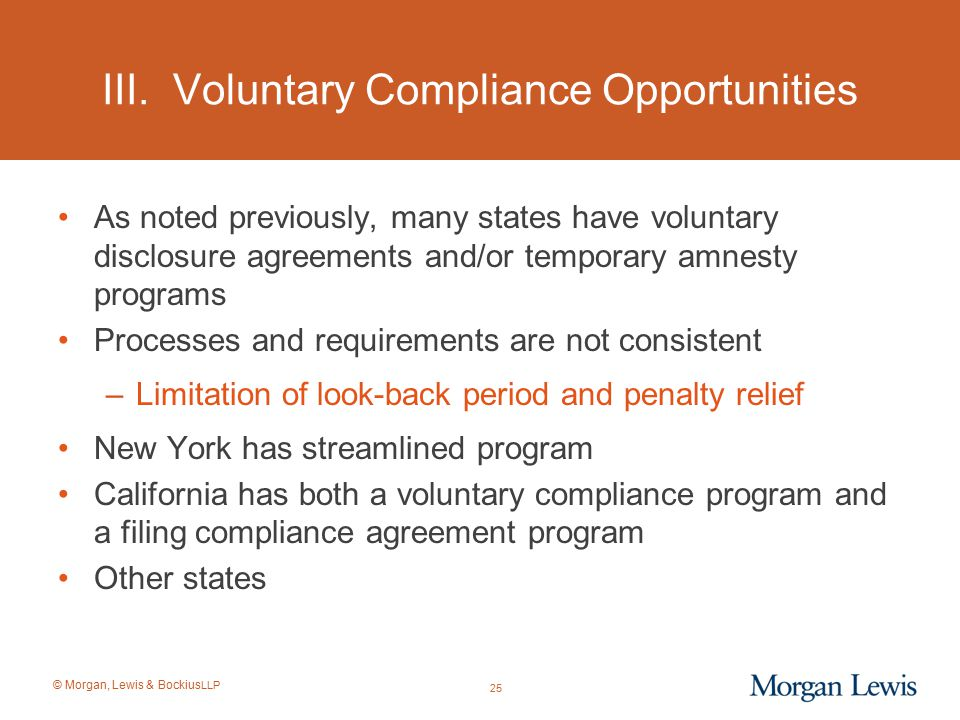 III. Voluntary Compliance Opportunities