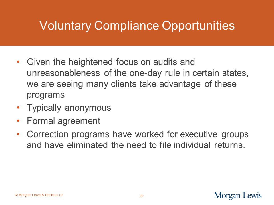 Voluntary Compliance Opportunities