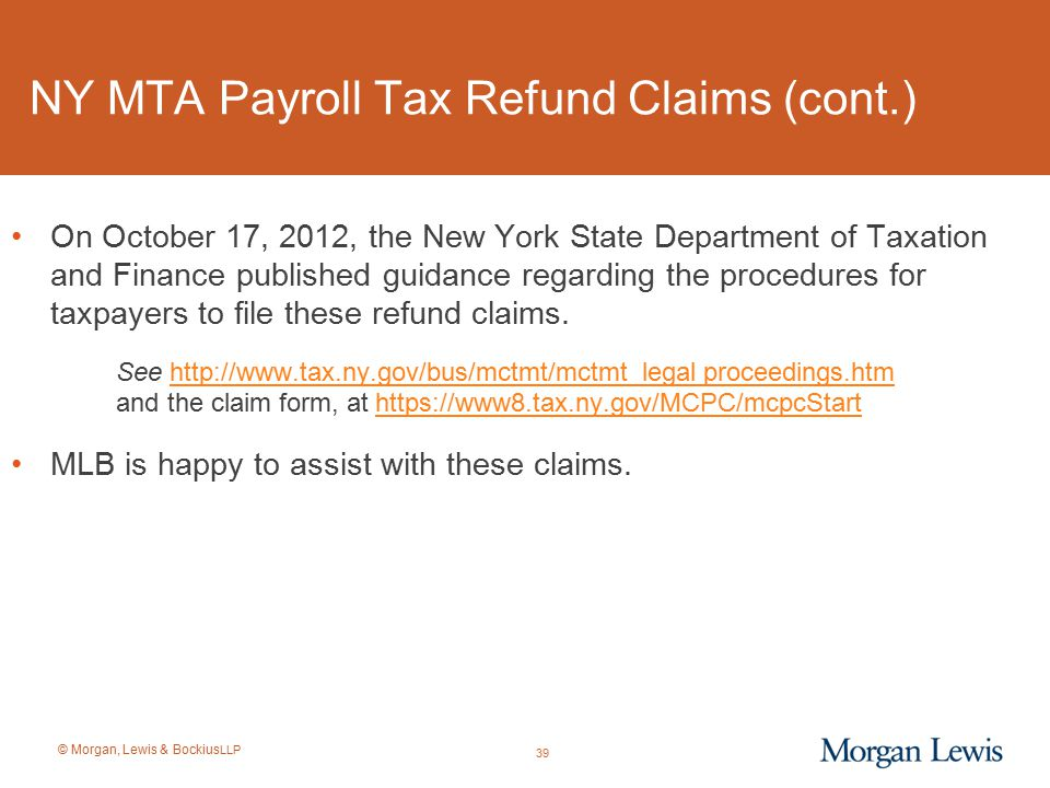NY MTA Payroll Tax Refund Claims (cont.)