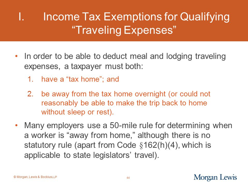 I. Income Tax Exemptions for Qualifying Traveling Expenses
