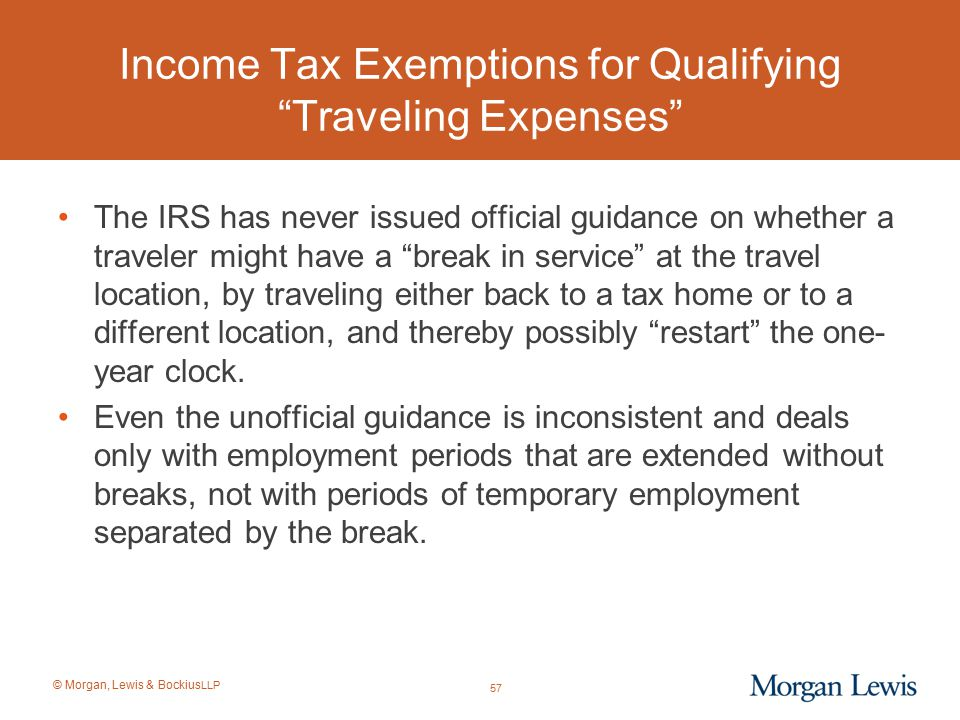 Income Tax Exemptions for Qualifying Traveling Expenses