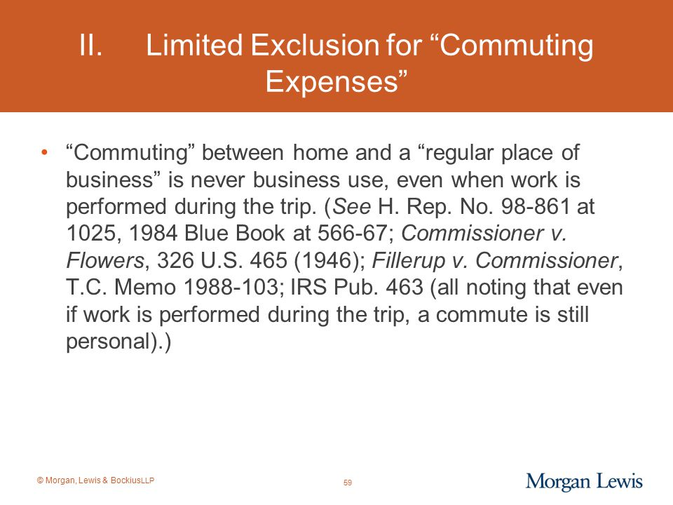 II. Limited Exclusion for Commuting Expenses