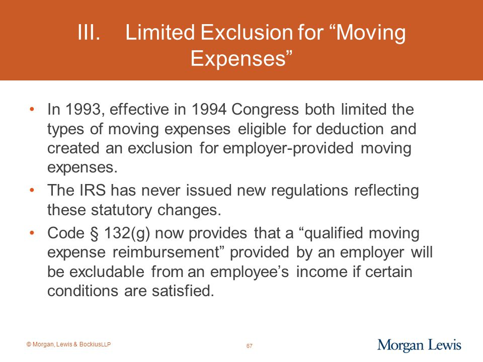 III. Limited Exclusion for Moving Expenses