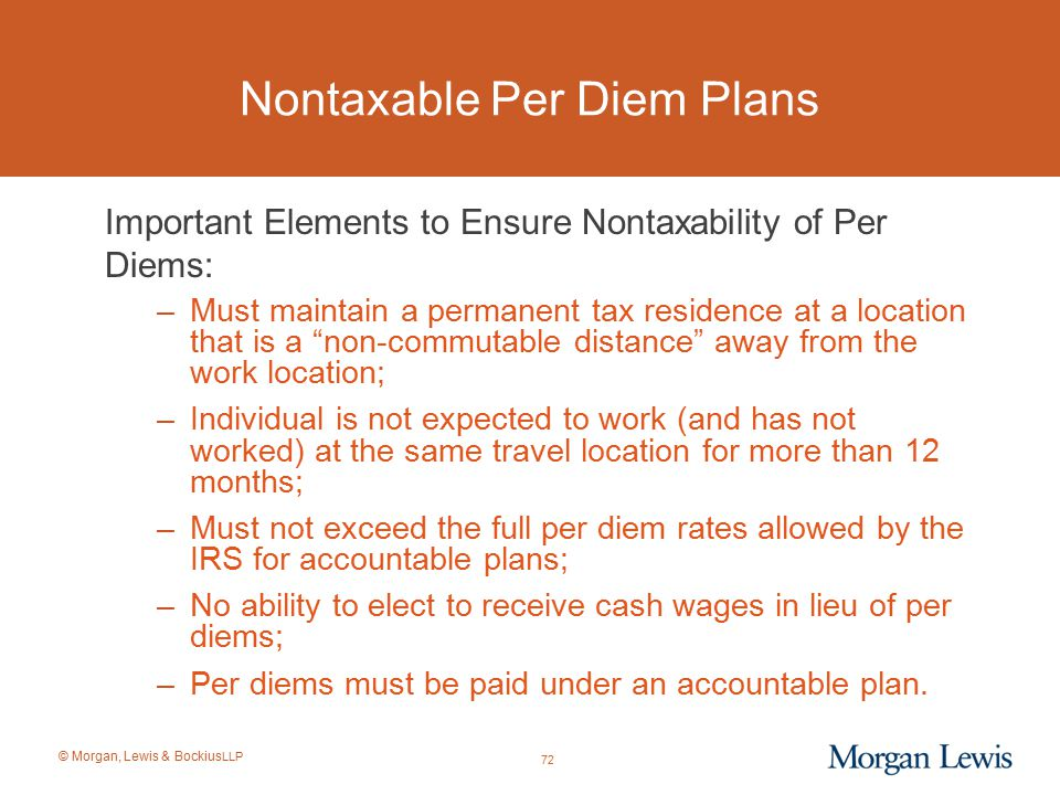 Nontaxable Per Diem Plans