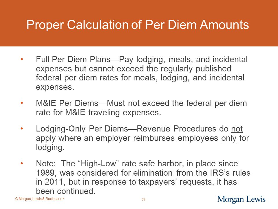 Proper Calculation of Per Diem Amounts