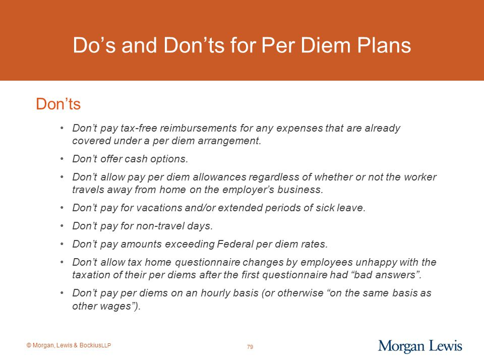 Do's and Don'ts for Per Diem Plans