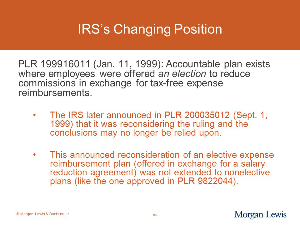 IRS's Changing Position