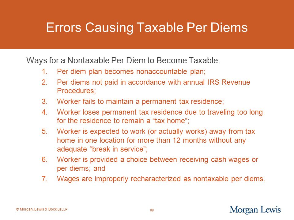 Errors Causing Taxable Per Diems