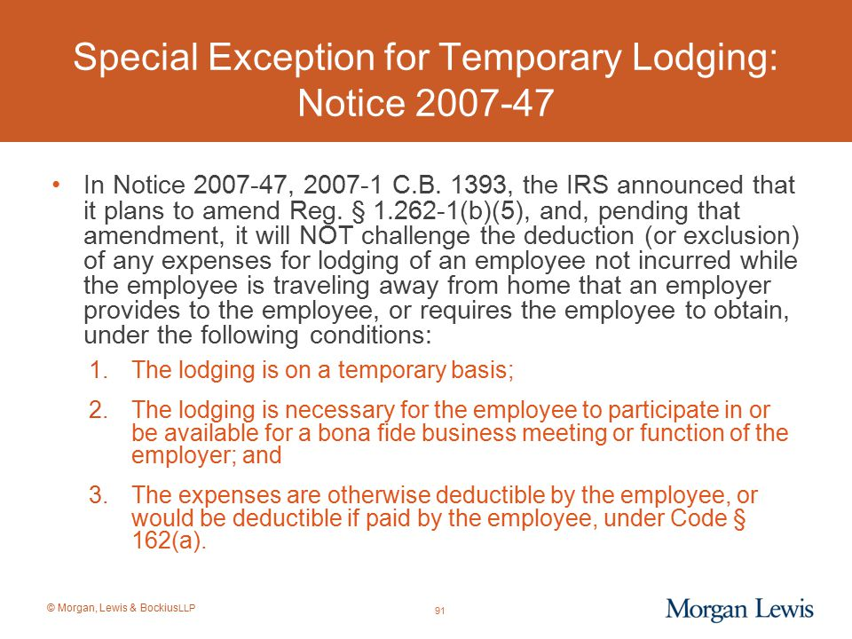 Special Exception for Temporary Lodging: Notice 2007-47