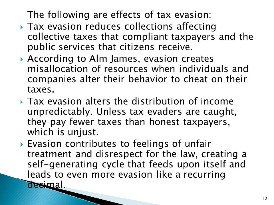The following are effects of tax evasion: