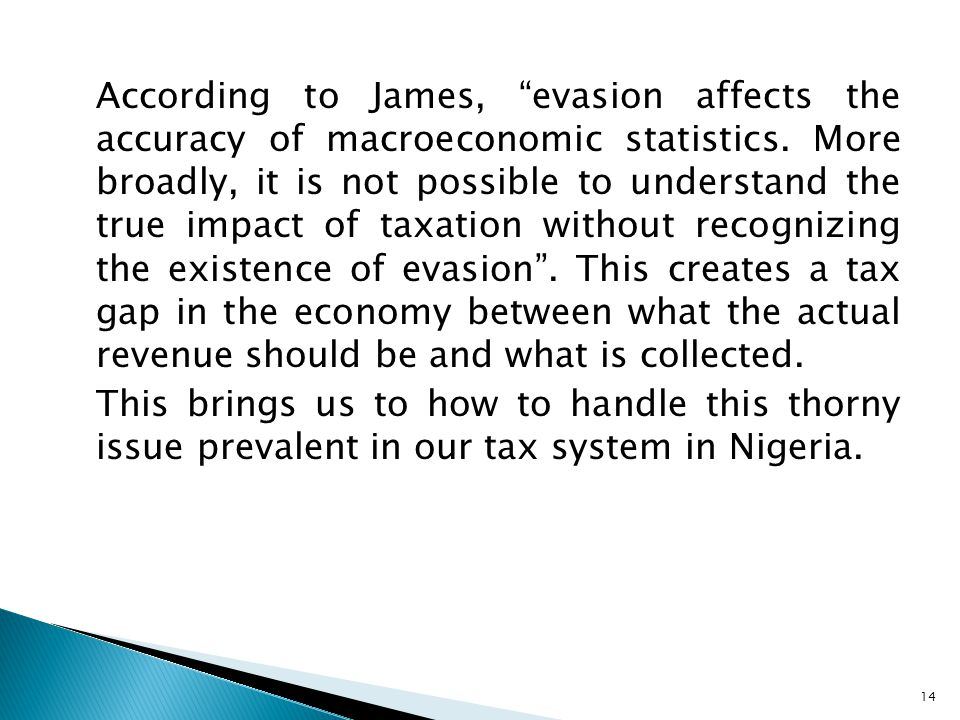 According to James, evasion affects the accuracy of macroeconomic statistics.