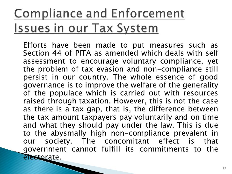 Compliance and Enforcement Issues in our Tax System