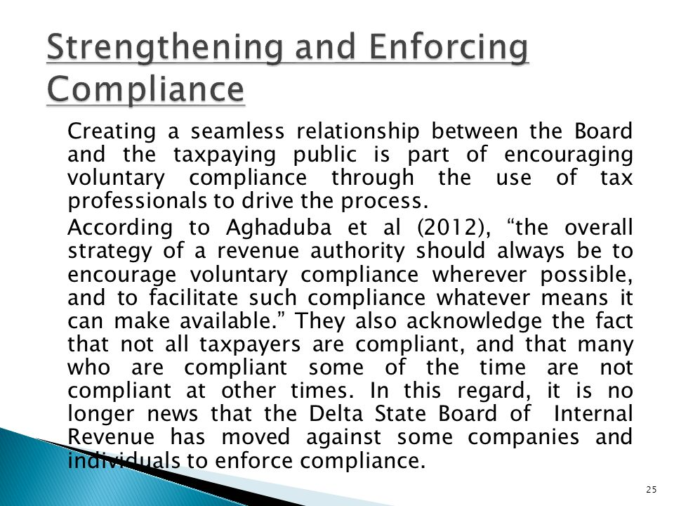 Strengthening and Enforcing Compliance