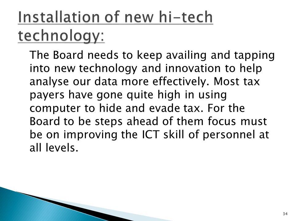 Installation of new hi-tech technology: