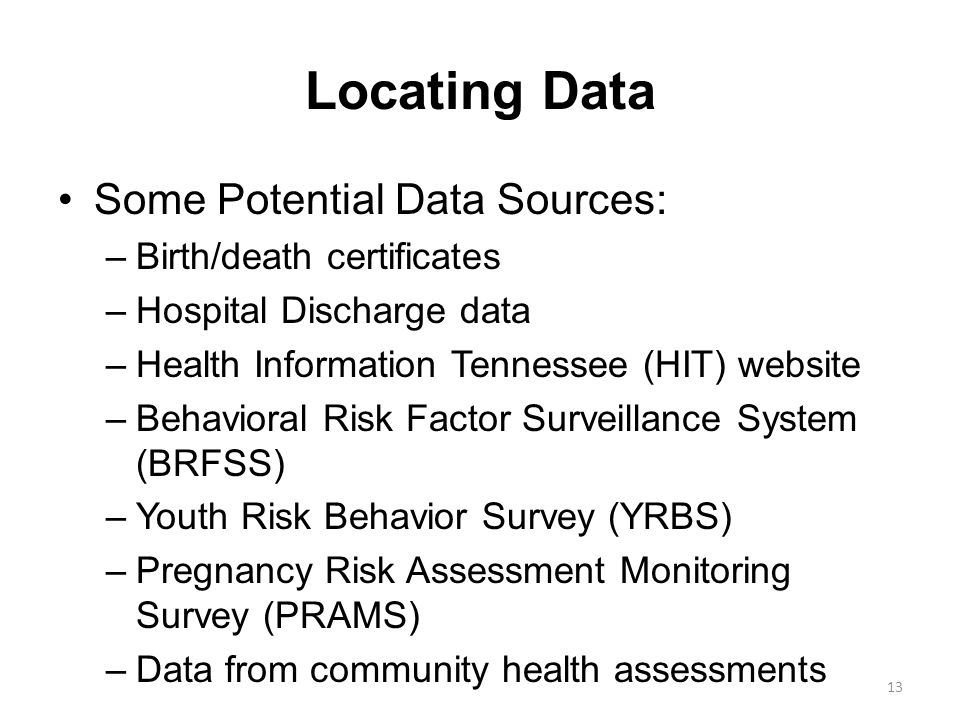 Locating Data Some Potential Data Sources: Birth/death certificates