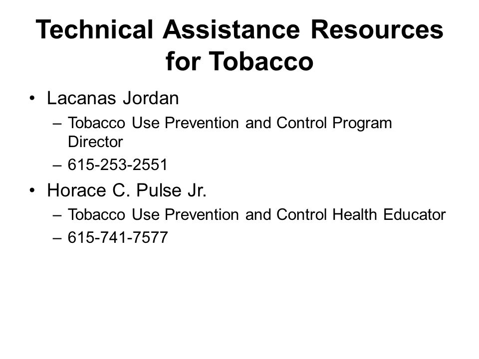 Technical Assistance Resources for Tobacco