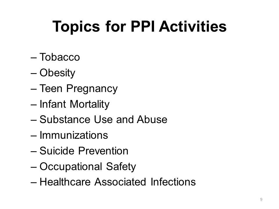 Topics for PPI Activities