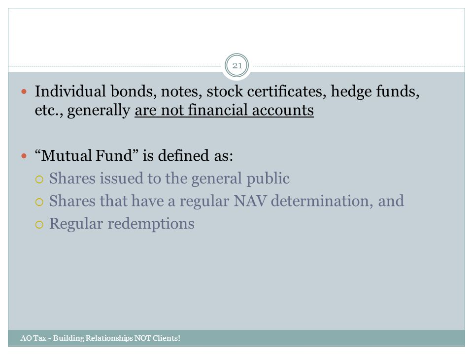 Mutual Fund is defined as: Shares issued to the general public