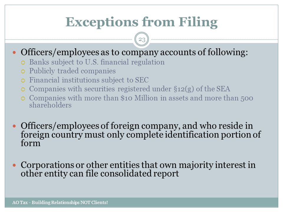 Exceptions from Filing