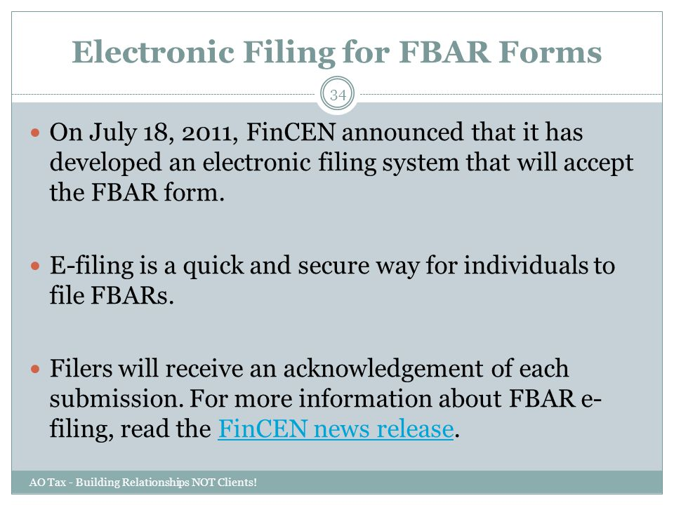 Electronic Filing for FBAR Forms