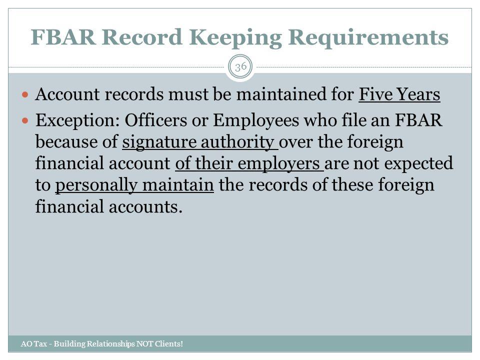 FBAR Record Keeping Requirements