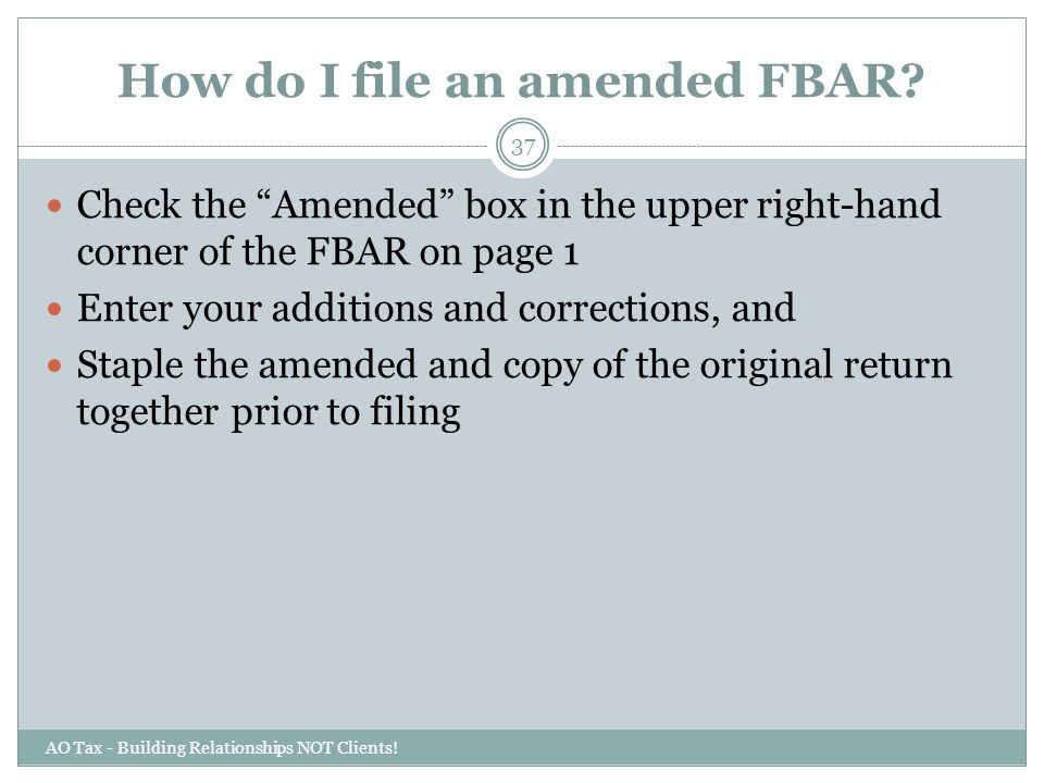 How do I file an amended FBAR