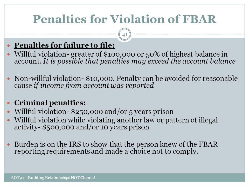 Penalties for Violation of FBAR