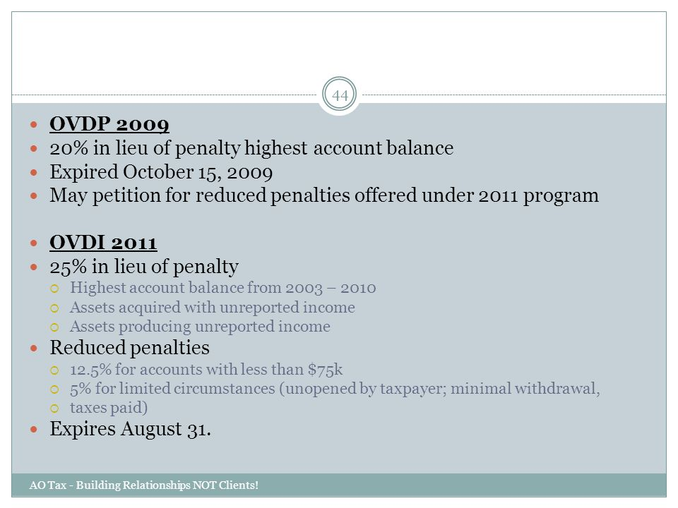 20% in lieu of penalty highest account balance