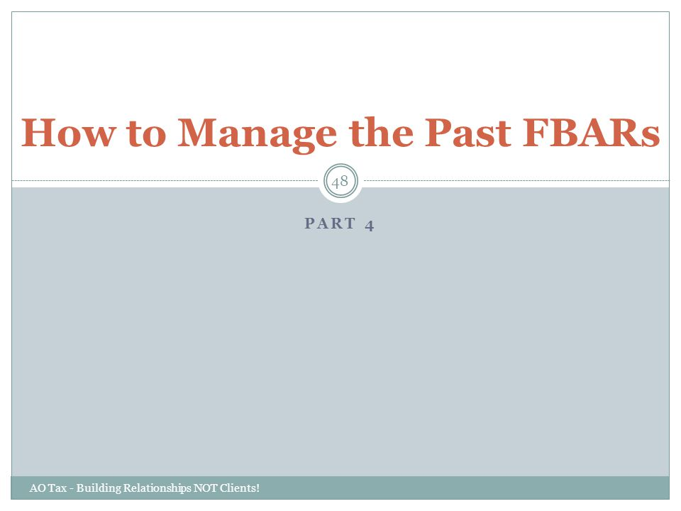 How to Manage the Past FBARs