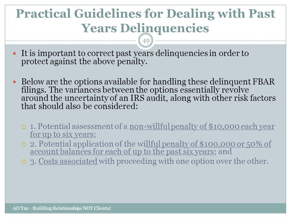 Practical Guidelines for Dealing with Past Years Delinquencies
