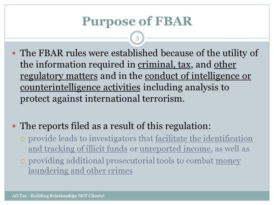 Purpose of FBAR