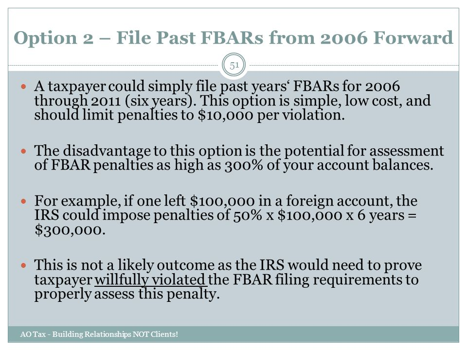 Option 2 – File Past FBARs from 2006 Forward
