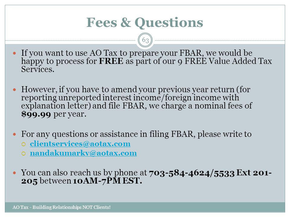 Fees & Questions