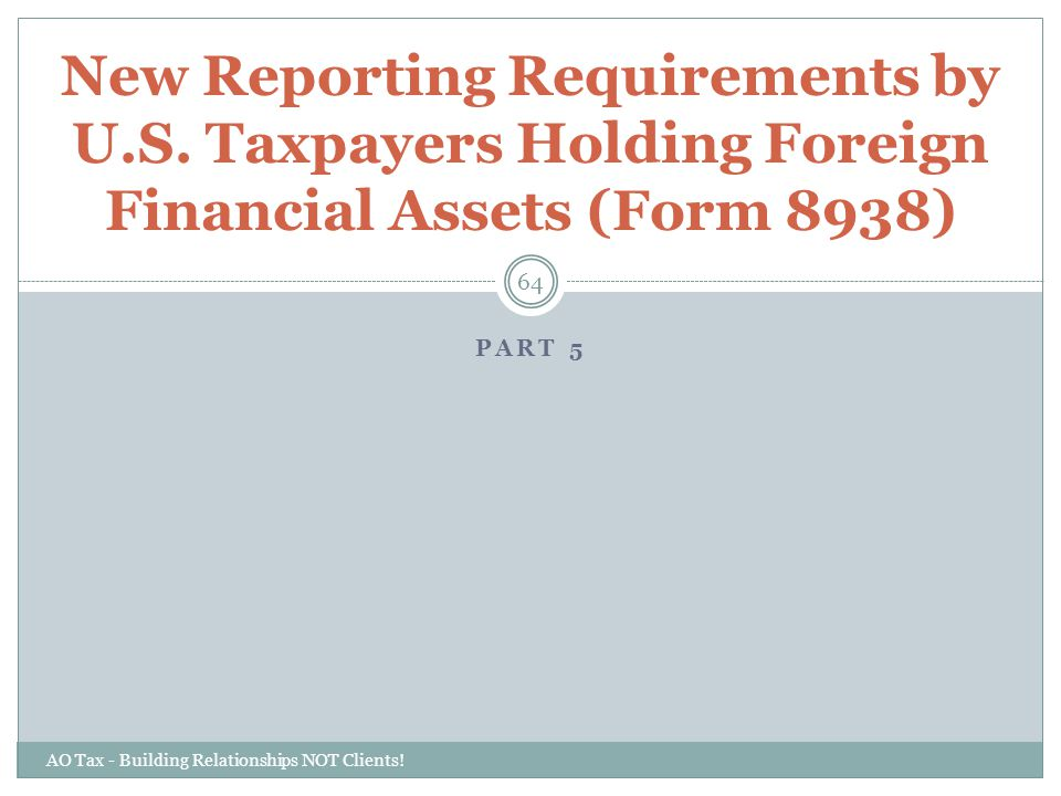 New Reporting Requirements by U. S