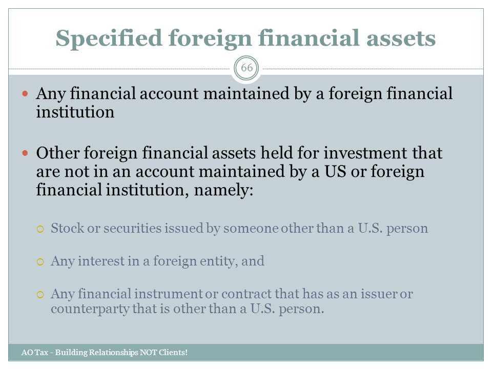 Specified foreign financial assets