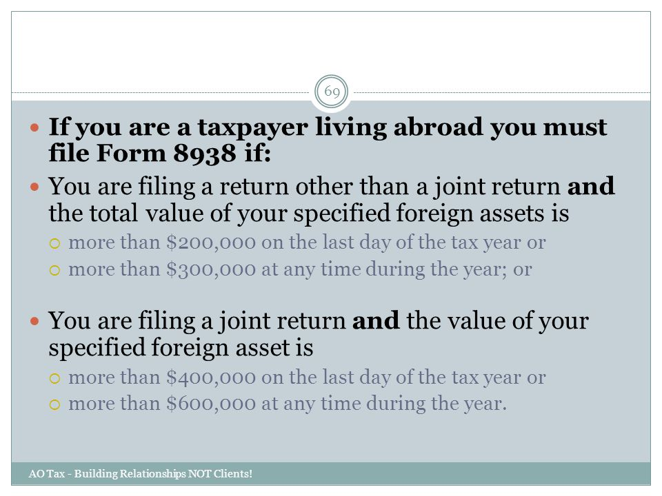 If you are a taxpayer living abroad you must file Form 8938 if: