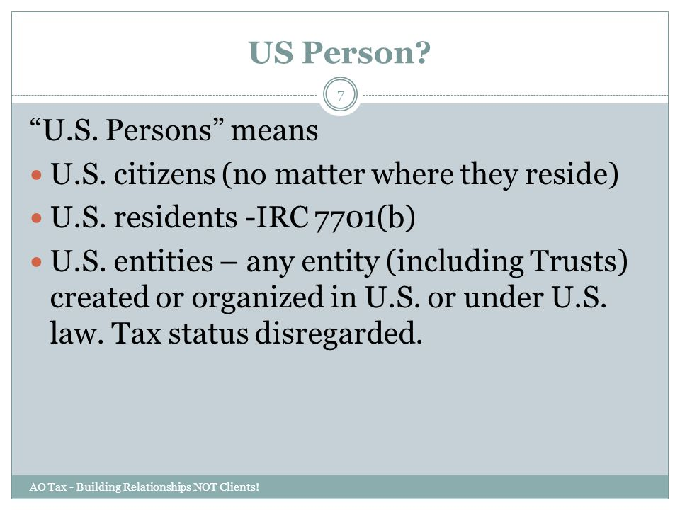 US Person U.S. Persons means